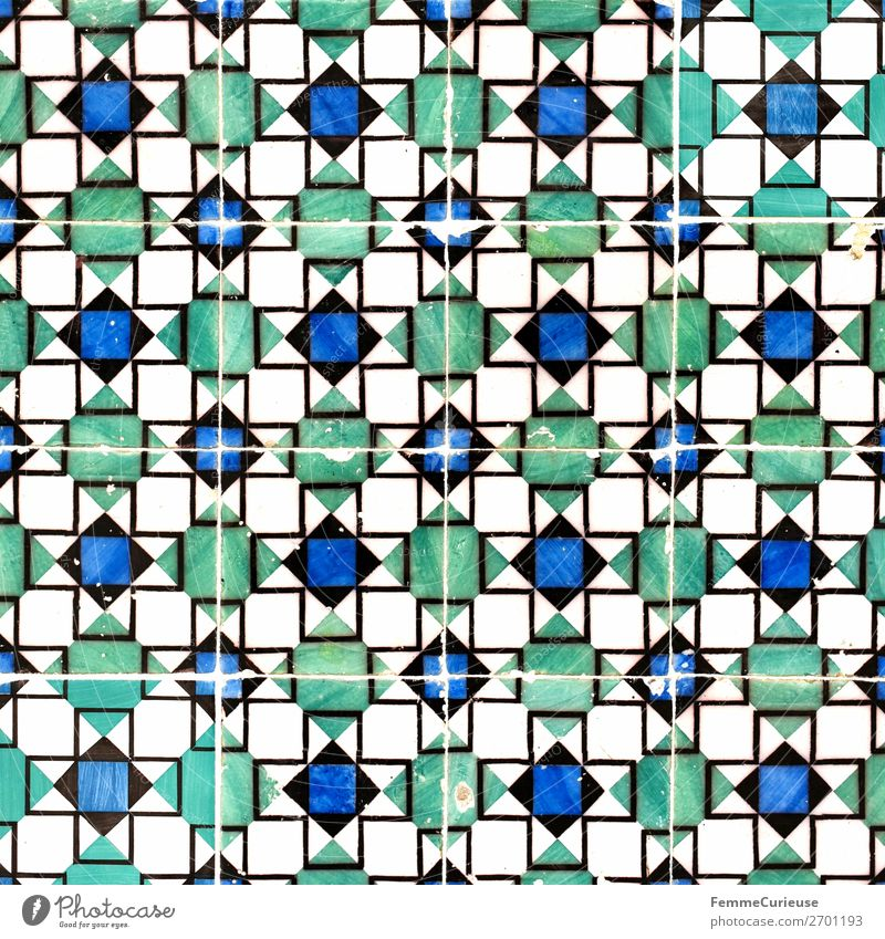 Colored wall tiles in Portugal House (Residential Structure) Blue Green White Tile Lisbon Square Structures and shapes Geometry Colour photo Exterior shot Day