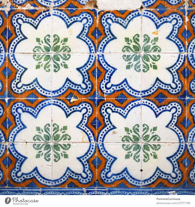 Colored wall tiles in Portugal House (Residential Structure) Blue Multicoloured Green Red White Tile Lisbon Square Pattern Art Colour photo Exterior shot Day