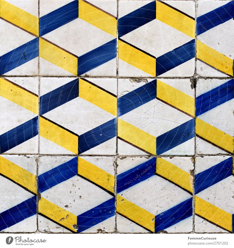 Colored wall tiles in Portugal House (Residential Structure) Blue Yellow White Lisbon Tile Pattern Geometry Square Art Colour photo Exterior shot Day