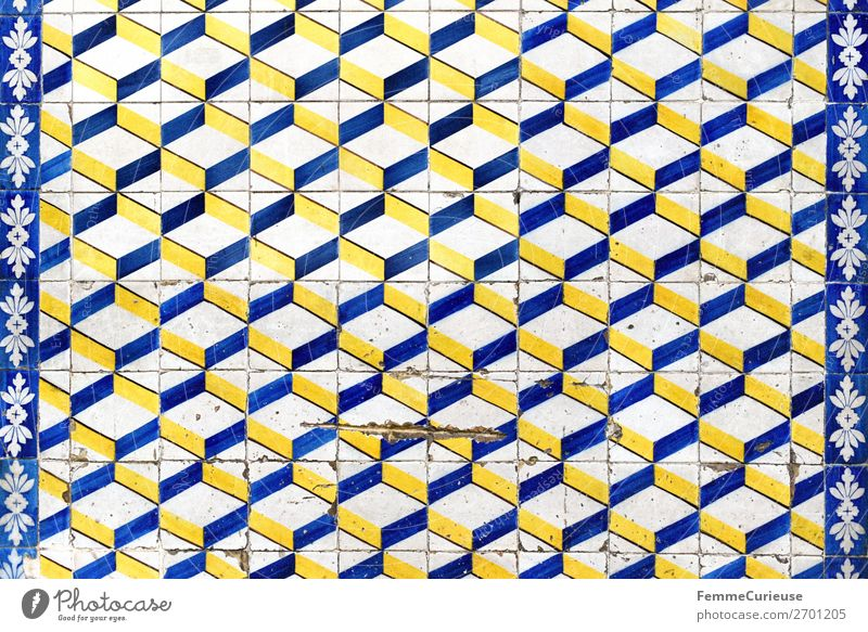 Coloured tiles in Portugal Town Tradition Tile Design Pattern Geometry Square White Blue Yellow Facade Lisbon Colour photo Exterior shot Day Central perspective