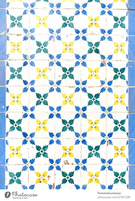 Coloured tiles in Portugal Town Design Tradition Pattern Blossom Flower Plant Flowery pattern Tile Square White Blue Yellow Green Facade Colour photo