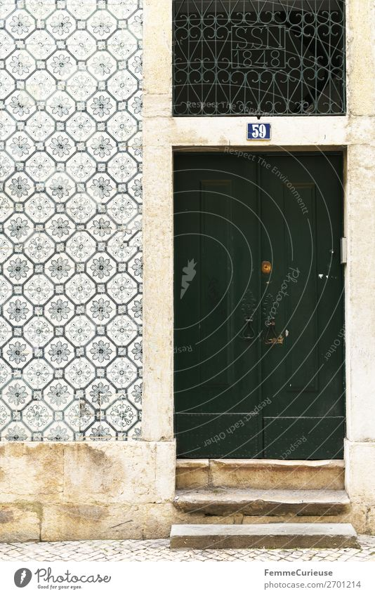Door in Portugal House (Residential Structure) Vacation & Travel Living or residing Green Travel photography Lisbon Facade Tile Multicoloured Colour photo