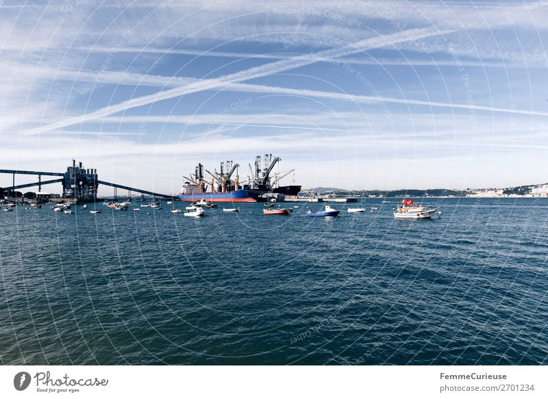 Small harbour with fishing boats in Portugal Nature Transport Means of transport Traffic infrastructure Navigation Inland navigation Boating trip Steamer