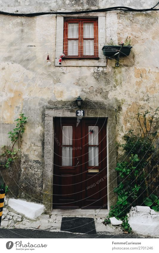 Vacation & Travel Old House (Residential Structure) Travel photography Window Facade Living or residing Plaster Curtain Rendered facade