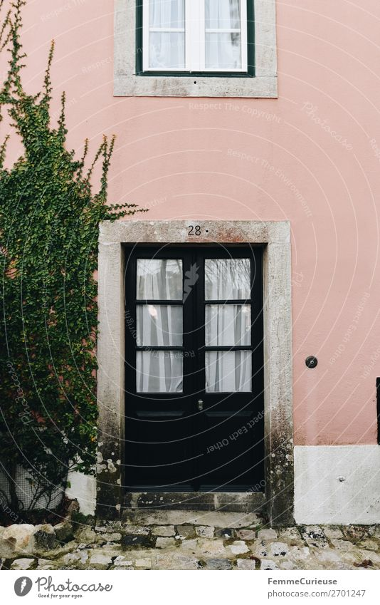 Vacation & Travel Plant House (Residential Structure) Travel photography Facade Pink Living or residing Door Apartment Building Portugal