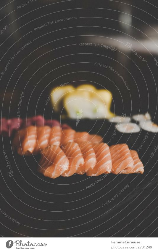 Sushi on black slate plate Food Fish Seafood Nutrition Lunch Dinner Buffet Brunch Organic produce To enjoy Salmon Slate Restaurant Healthy Eating Protein