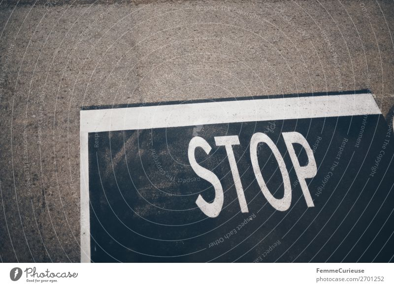 STOP mark on pedestrian path Transport Traffic infrastructure Sign Characters Signs and labeling Signage Warning sign Road sign Communicate stop Stop sign