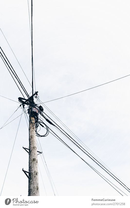 Sky Town Living or residing Energy industry Electricity Cable Electricity pylon Small Town High voltage power line