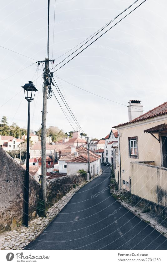 Street Living or residing Energy industry Apartment Building Lantern Traffic infrastructure Electricity pylon Portugal Sintra