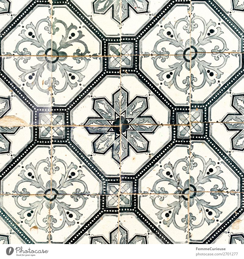 Tiles on house facade in Portugal Town Capital city Tradition Pattern Geometry Square Lisbon Travel photography Colour photo Exterior shot Day