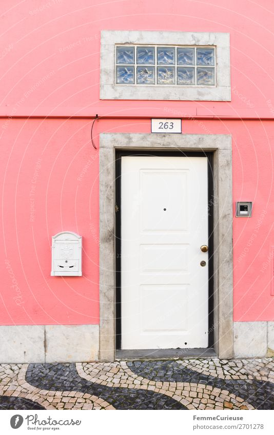 Vacation & Travel White House (Residential Structure) Travel photography Pink Living or residing Door Paving stone Portugal Mailbox