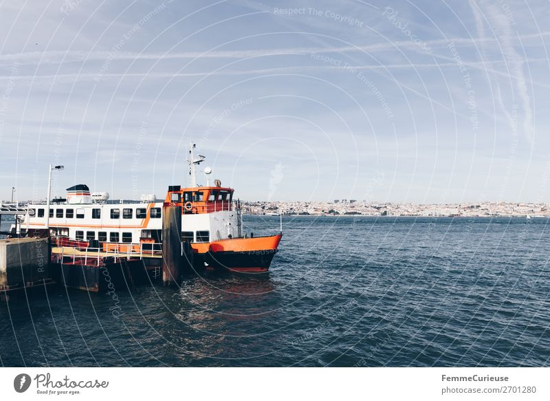 Ferry in Lisbon Port City Transport Means of transport Traffic infrastructure Passenger traffic Navigation Boating trip Passenger ship Vacation & Travel Trip