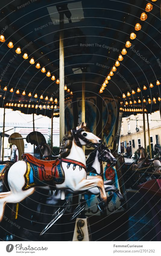 Illuminated horse carousel Joy Leisure and hobbies Experience Carousel Hobbyhorse Horse Attraction Fairs & Carnivals Christmas Fair Light Colour photo