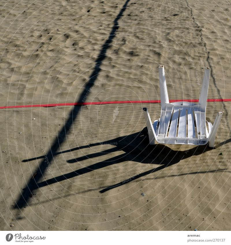 game over Sports Volleyball (sport) Volleyball court Sandy beach Sporting Complex Gray End Colour photo Exterior shot Deserted Day Shadow