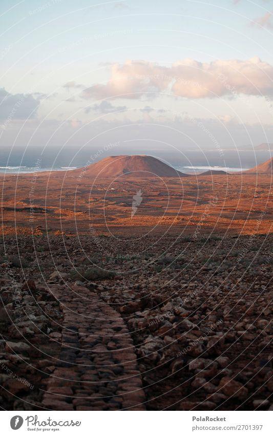 #AS# Vulcanano Landscape Wisdom Mountain Volcano Ocean Vantage point Hiking Sunset Stony Vacation photo Fuerteventura Mars Island Sparse Colour photo