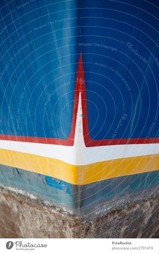 #AS# ShipBlue Art Esthetic Navigation Watercraft Bow Shipyard Colour photo Multicoloured Exterior shot Detail Experimental Abstract Deserted Copy Space left