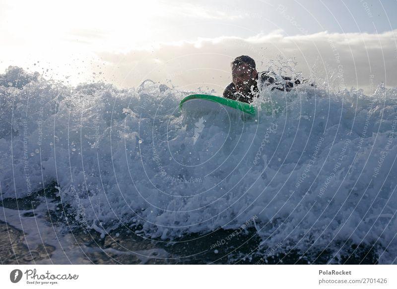 #AS# on the wave Nature Esthetic Waves Surfing Surfer Surfboard Surf school White crest Aquatics Colour photo Subdued colour Exterior shot Detail Experimental