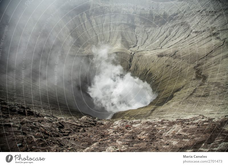 Dentro del Crater Nature Landscape Elements Earth Sand Fire Volcano bromo Crater rim crater Island Java Indonesia Observe humo interior de cráter Caldera