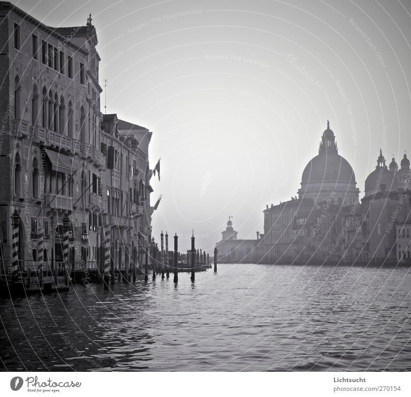 Black gondolas Vacation & Travel Tourism City trip Water Waves Venice Veneto Italy Europe Port City Old town Deserted Church Manmade structures Facade