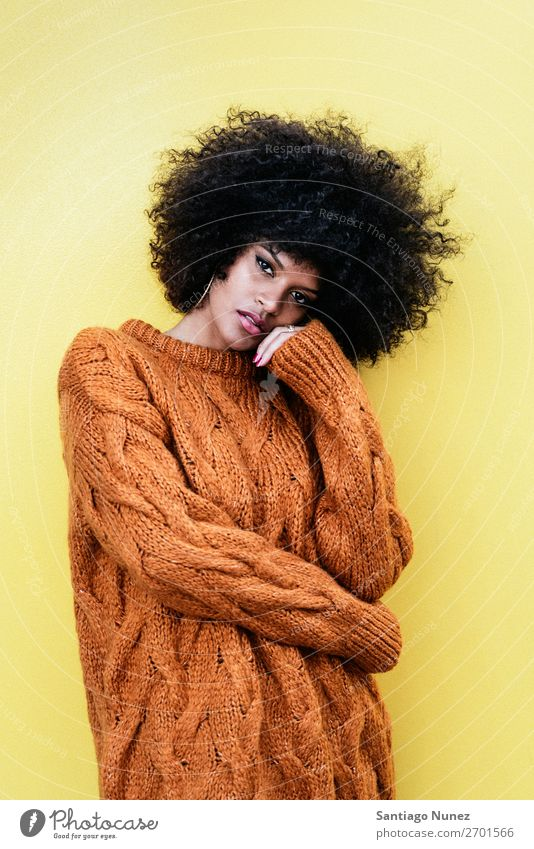 Portrait of attractive afro woman Woman Black Afro African Human being Youth (Young adults) Portrait photograph Lifestyle Cute Beautiful Modern Fashion 1