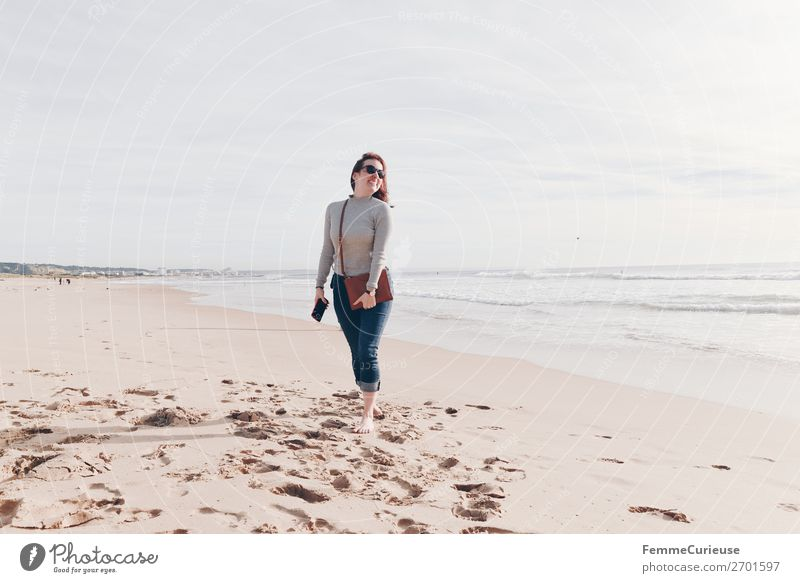 Holidaymaker at the Atlantic Ocean Lifestyle Feminine Woman Adults 1 Human being 18 - 30 years Youth (Young adults) 30 - 45 years Vacation & Travel Relaxation