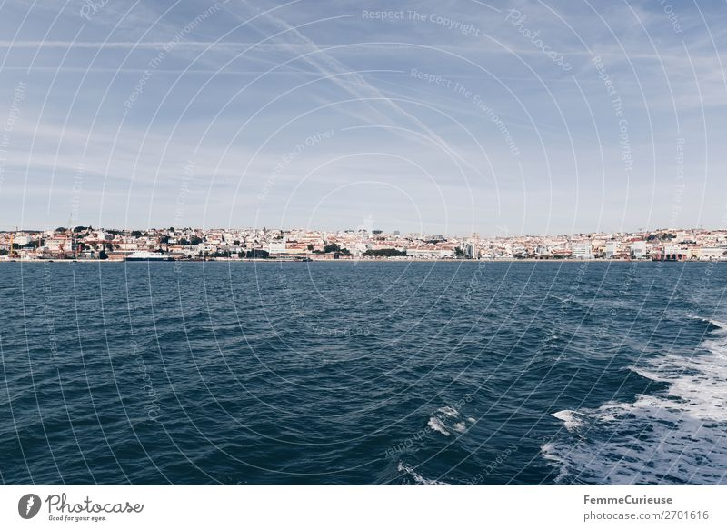 View of Lisbon from the Atlantic Ocean Port City Vacation & Travel Vapor trail Beautiful weather Travel photography Vacation photo Vacation mood Swell Water