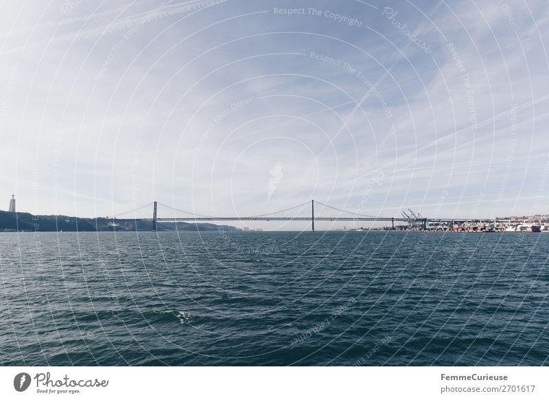 Bridge in Lisbon: Ponte 25 de Abril Town Capital city Vacation & Travel Tejo Bridge Portugal Tourist Attraction Traffic infrastructure Atlantic Ocean Sky Water