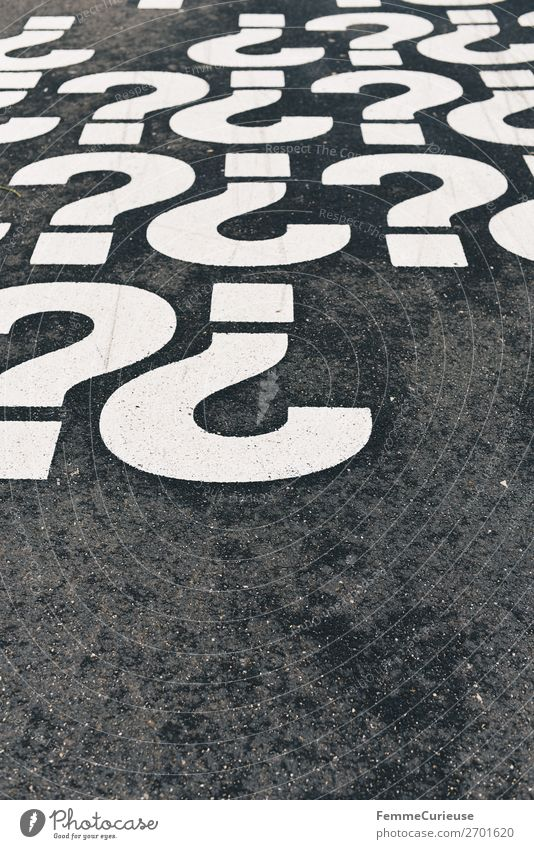 White Multiple Characters Communicate Sign Sidewalk Ask Question mark Punctuation mark