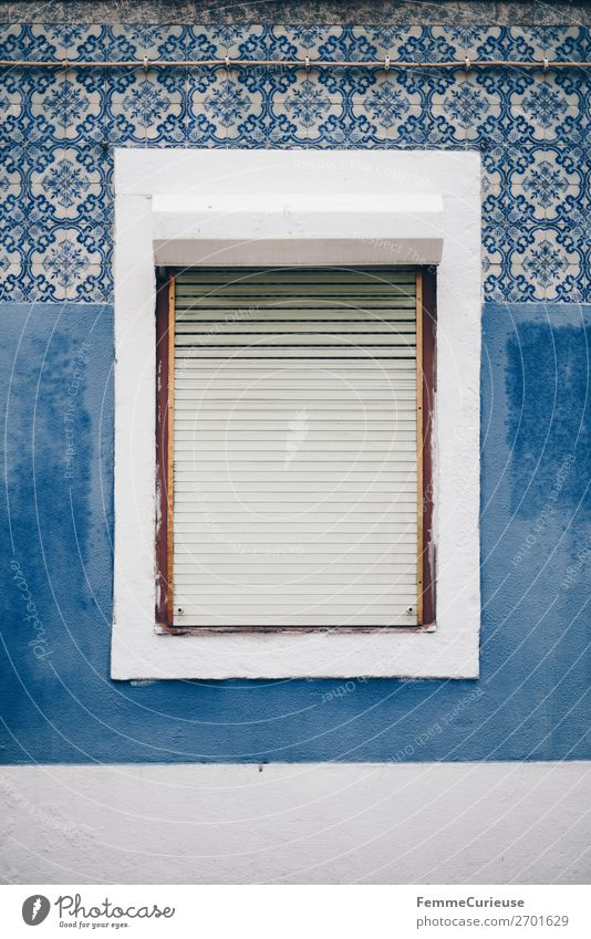Window in Portugal surrounded by colorful house front Town Vacation & Travel Living or residing Lisbon Tile Pattern Blue tone White Roller shutter Colour photo