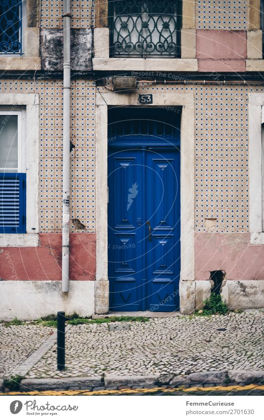 Door in Portugal House (Residential Structure) Vacation & Travel Living or residing Multicoloured Facade Tile Blue Travel photography Colour photo Exterior shot