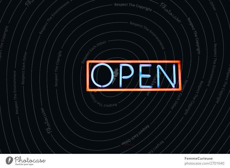 Neon sign showing the word 'OPEN' Sign Characters Signs and labeling Signage Warning sign Communicate Open Opening time Illuminant Neon light Neon lamp Lamp