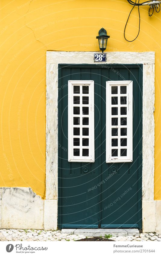 Vacation & Travel Green White House (Residential Structure) Yellow Facade Living or residing Door Portugal