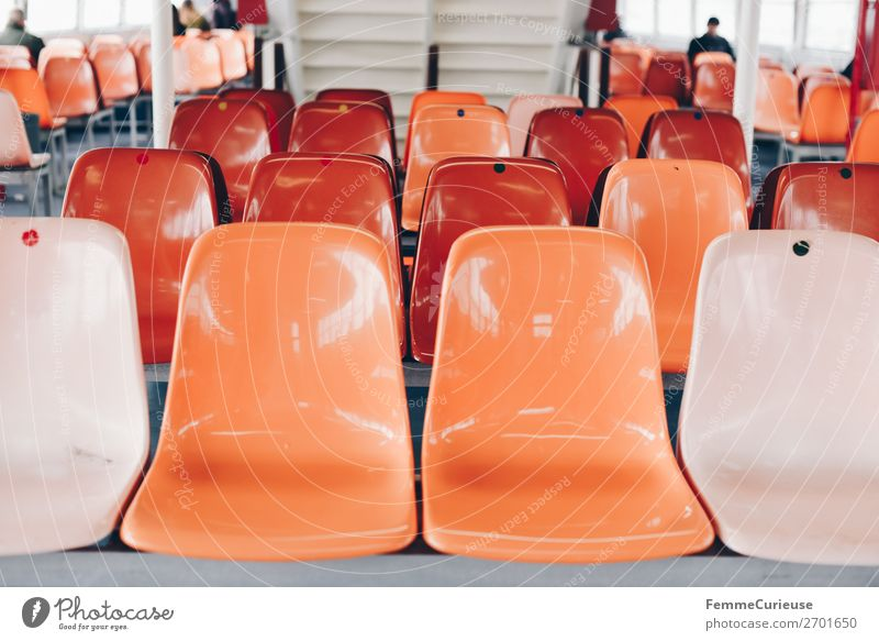 Interior of a ferry with colourful seats Transport Means of transport Navigation Steamer Ferry Vacation & Travel Seating Orange Orange-red Multicoloured
