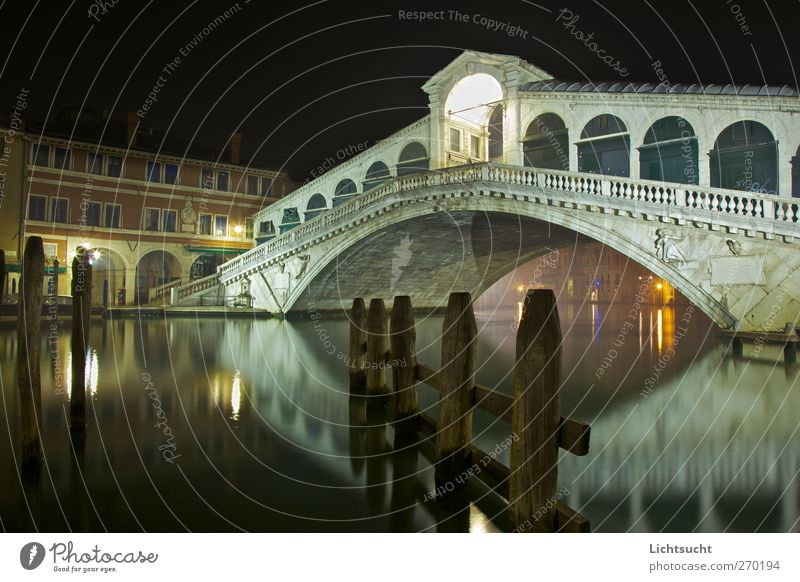 Rialto at night Tourism Sightseeing City trip Venice Veneto San Polo Italy Europe Port City Old town Deserted Bridge Manmade structures Architecture Arcade