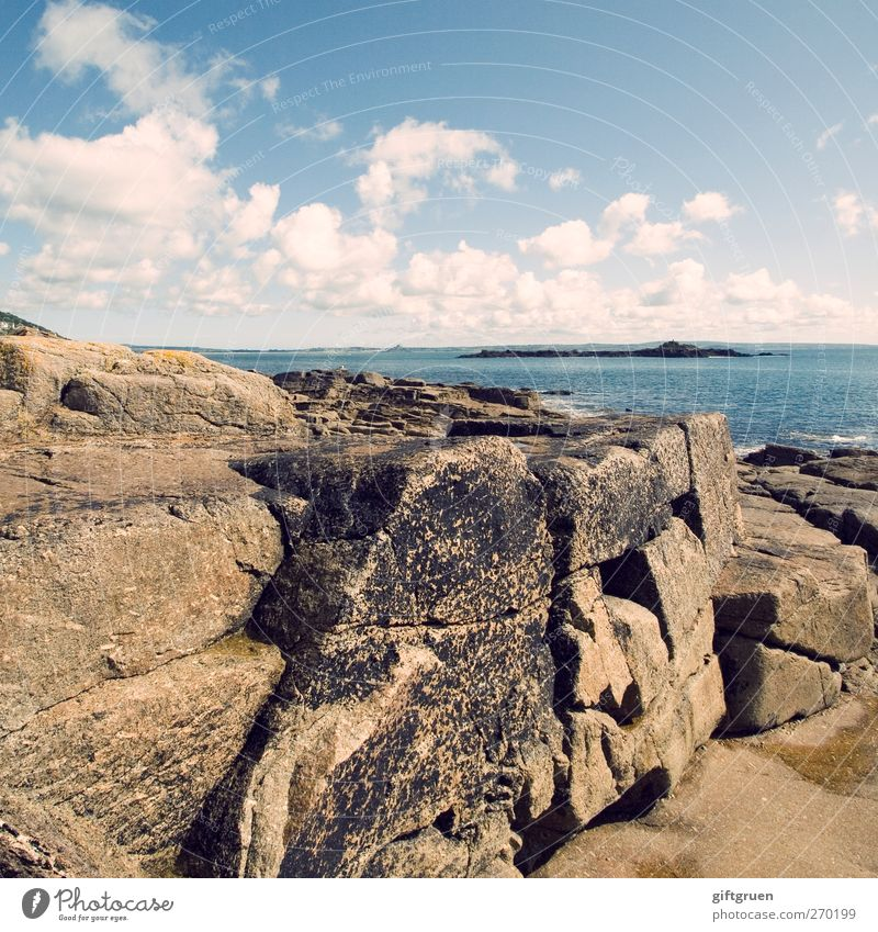 Sky Nature Water Summer Ocean Clouds Environment Landscape Coast Gray Stone Bright Horizon Rock Island Elements