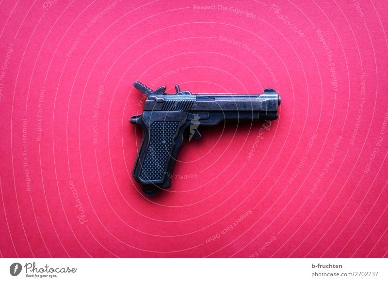 pistol on pink background Toys Aggression Crazy Trashy Pink Dangerous Criminality Handgun Weapon Lie Safety Shot Shoot Signal Signal gun Life Survive