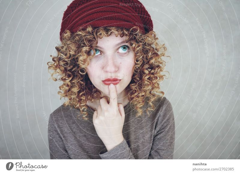 portrait of a young funny thoughtful woman Style Beautiful Face Human being Feminine Woman Adults Youth (Young adults) Fashion Blonde Think Dream Cool (slang)