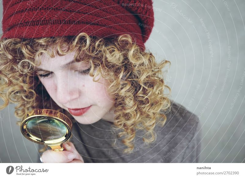 young funny woman investigating with a magnifying glass Style Beautiful Face Human being Feminine Young woman Youth (Young adults) Woman Adults 1 18 - 30 years