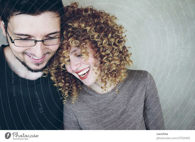 Portrait of a natural and happy caucasian couple Woman Human being Man Beautiful Joy Lifestyle Adults Love Natural Funny Feminine Family & Relations Style