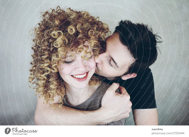 Natural portrait of a young caucasian people Lifestyle Style Joy Beautiful Human being Masculine Feminine Woman Adults Man Family & Relations Couple Partner