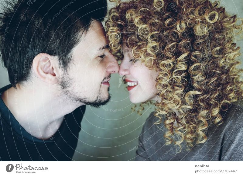 Portrait of a natural caucasian couple happily in love Woman Human being Man Beautiful Joy Face Lifestyle Adults Love Natural Feminine Family & Relations Style