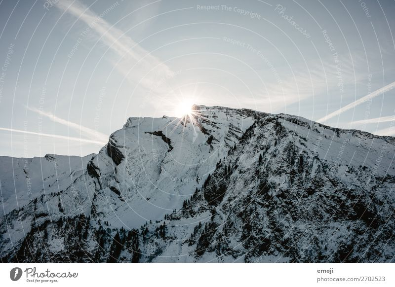 Klewenalp - mountain - sun - back light Environment Nature Landscape Sky Winter Snow Alps Mountain Peak Snowcapped peak Natural Blue Switzerland Tourism Trip