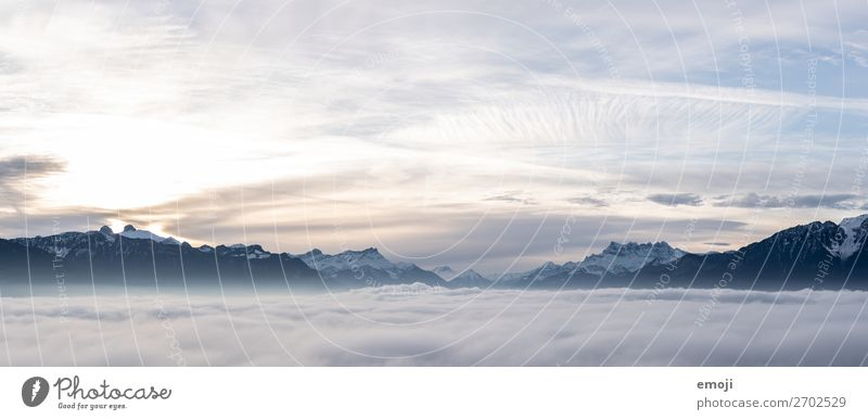 Lake Geneva Environment Nature Landscape Sky Winter Fog Alps Mountain Exceptional Natural Blue Switzerland Sea of fog Colour photo Exterior shot Deserted
