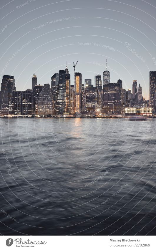 Manhattan skyline at sunset, New York. Sky River Town Downtown Skyline High-rise Building Architecture Dark Experience Success Inspiration City cityscape