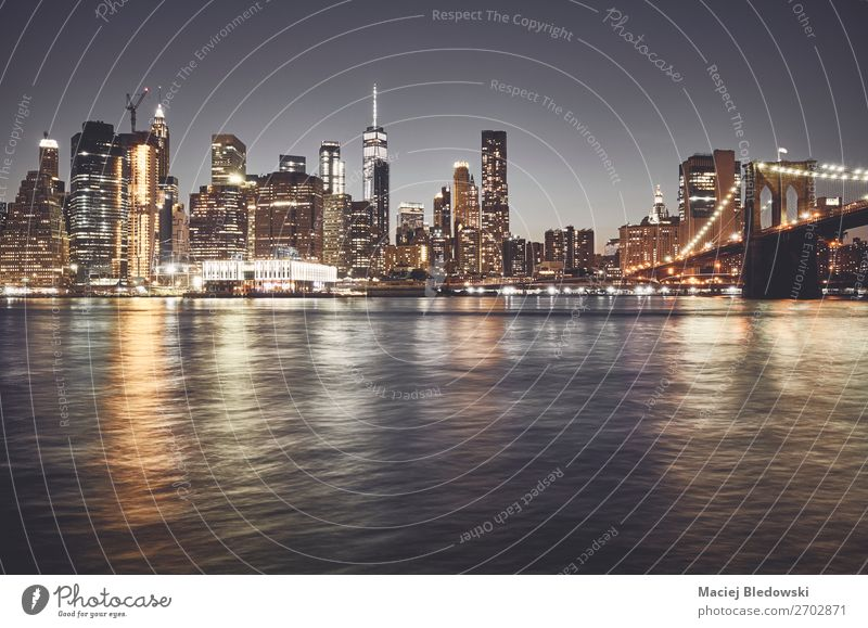 New York City skyline at night, USA. Vacation & Travel Sightseeing City trip Living or residing Work and employment Workplace Office Sky River Downtown Skyline