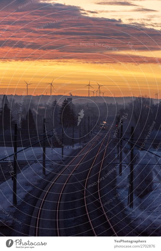 December sunrise and german railways infrastructure Sky Vacation & Travel Nature White Landscape Red Tree Movement Germany Transport Gold Speed Industry