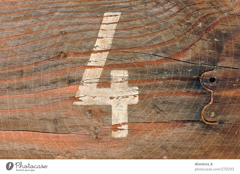 number four wood background Old Wood Brown Dirty Digits and numbers Symbols and metaphors Material Typography Crack & Rip & Tear Surface Rough Weathered