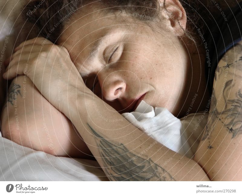 deep sleep Young woman Sleep Tattooed tired Relaxation Contentment Dream Youth (Young adults) Woman Uniqueness Fatigue Exhaustion Rest Morning portrait