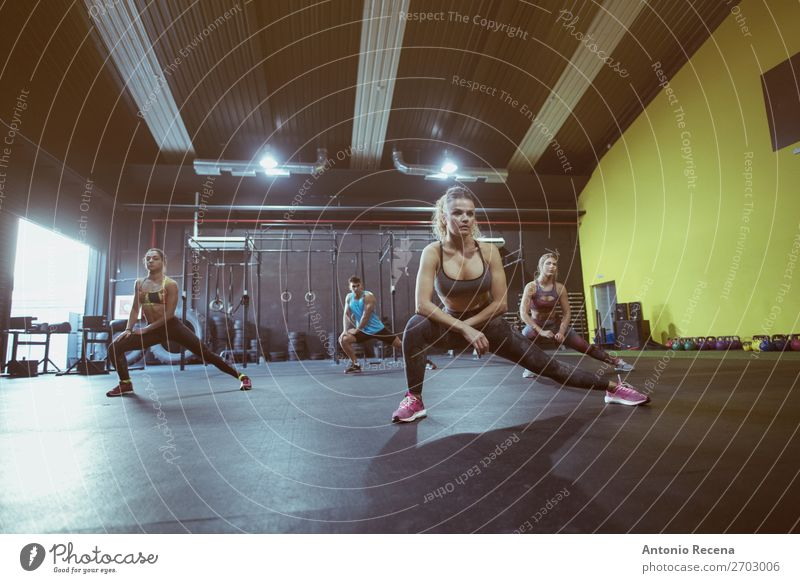 Active group of people training in sports dance class Lifestyle Relaxation Club Disco Dance Sports Teacher Screen Woman Adults Man Group Fitness Effort