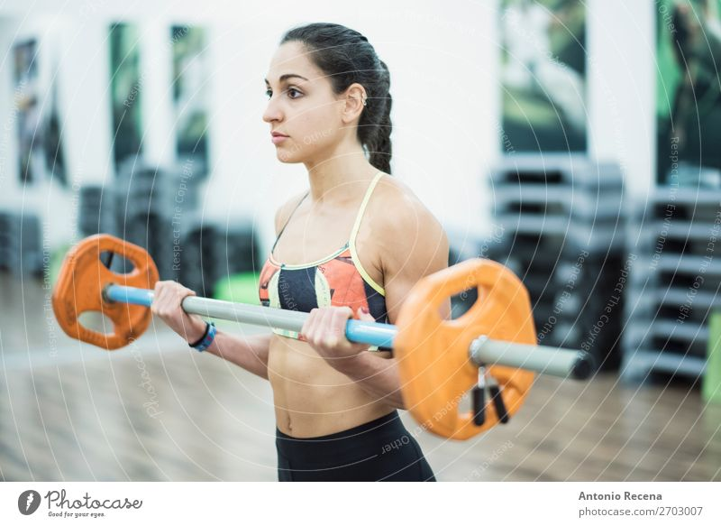 Bar training Lifestyle Relaxation Club Disco Sports Human being Woman Adults Fitness Effort Concentrate Biceps Gymnasium gymnassium bar people attractive